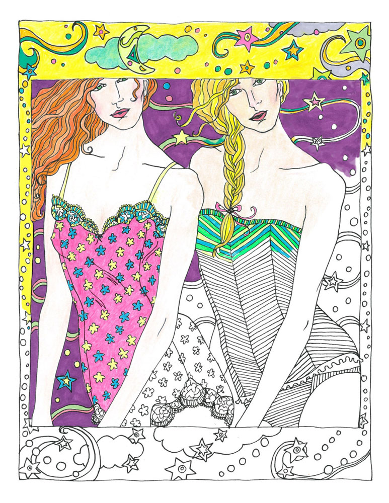 "Two Girls, from the coloring book ""Color in Fashion"" by Alecia Blake"