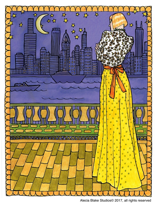 "Nighttime Scene, from the coloring book ""Color in Fashion"" by Alecia Blake"