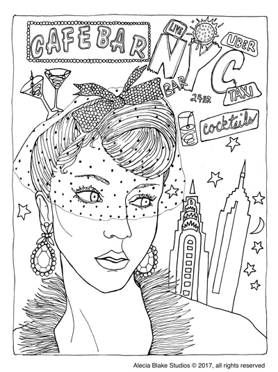 "NYC Face, from the coloring book ""Color in Fashion"" by Alecia Blake"