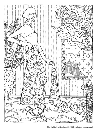 "Palazzo Pants, from the coloring book ""Color in Fashion"" by Alecia Blake"