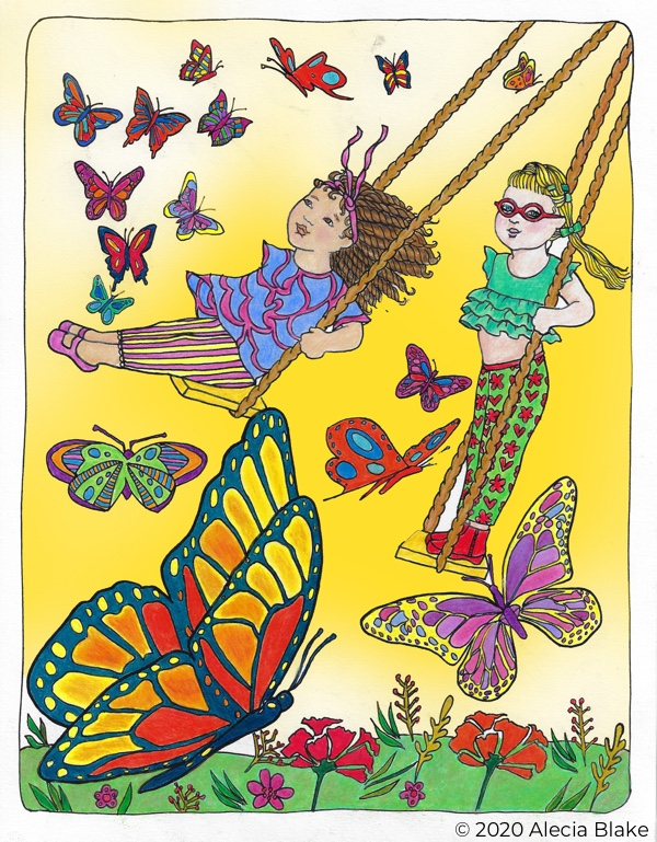 "Girls on Swings, page from ""Color in Wonder"" coloring book by Alecia Blake"