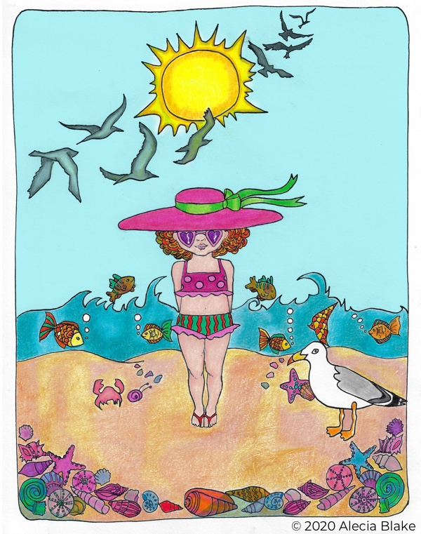 "Girl on Beach, page from ""Color in Wonder"" coloring book by Alecia Blake"